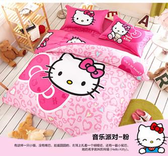 100% cotton cartoon bedding set hello kitty bed linen flannel duvet cover flat sheet pillow case king size queen size(China (Mainland))