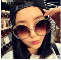 Fashion super large circular frame sun glasses circle metal cutout sunglasses