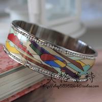 Silver special discount art [5 ] FREY life medium enameled diamond enamel bracelets