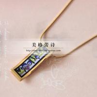 FREY Monet Iris blue flowers enameled gold pendant necklace long wavy highest product