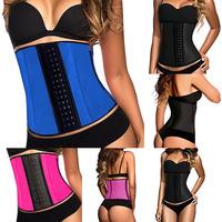 2015 Women Corset Steel Boned Waist Trainer Rubber Latex Corset Underwear Bustiers Slimming Body Shaper XS-3XL