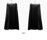 Pu leather pleated half-length full long vintage high waist slim skirt pleated midguts female black