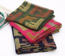 2014 Korean elegant style women scarf letter scarf long bufandas voile shawl free shipping(China (Mainland))