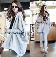 Extra Large Women autumn batwing sleeve hoodies gray M to XL cotton blending zipper cardigan sweatshirts wear fashion tops 1PC