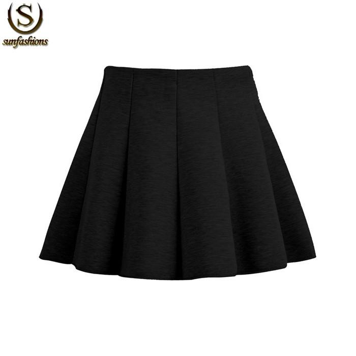 Saias femininas 2015 femmes marque de mode printemps noir taille haute une ligne plissée mini vintage. plaine, flare jupe élégante