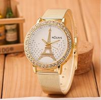 New Fashion Women Rhinestone Golden Watches Women Dress Watches Tower Watches