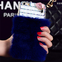 Rabbit hair Red lips Lipstick rhinestone mobile phone cover for iphone6 Plus 5.5inch