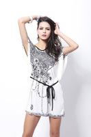 B30 new ice silk  dress Doman Sleeve plus size silk milk dress
