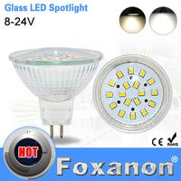 Foxanon Brand MR16 Led Spotlight 2835 SMD 18Leds 8-24V 12V Lamps Glass Body 5W Spot Light Led Bulb Downlight Lighting 1PCS/LOT