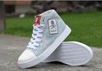 Korean fashion trend denim high-top canvas shoes casual shoes men