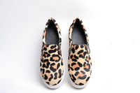 new leopard fur genuine leather sneakers flats heels woman fashion shoes Euro sizes design
