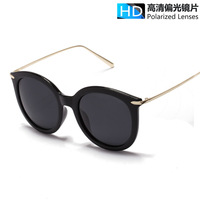 NEW Polarized reflective sun lenses eyewear women big frame round Sunglasses metal thin temple men brand driving shades UV400