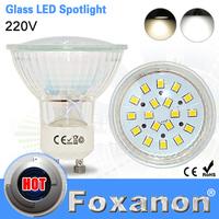 Foxanon Brand GU10 220V Led Spotlight 2835 SMD 18Leds Glass Lamp Body GU 10 5W Spot Light Led Bulb Downlight Lighting 1PCS/LOT