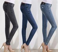 2015 Women Brand Denim Jeans Mid Waist Slim Pencil Pants Korean Style Sexy Denim Casual Summer Spring Jeans Plus Size 32