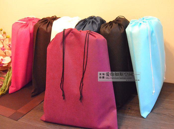 2014 new Freeshipping 50*60cm 10pcs/lot Eco Non-Woven Fabric Travel Drawstring Wardrobe Handbag Clothing Storage Organizer bag(China (Mainland))