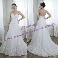 Dress Bride 2015 New Arrival White A Line Off Shoulder Court Train Backless Lace Wedding Dress