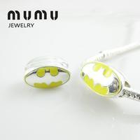 50PCs Wholesale Loose Beads Yellow Batman Logo European Charm Pan Style Beads Fit Snake Chain Jewelry