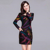 hot sale 2015 new autumn winter High-end women slim Knitting wool long sleeve ladies O-neck bodycon one-piece pencil dress WX378