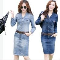 women's denim full dress long-sleeve slim hip V-neck elegant denim one-piece dress