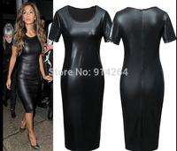 New Ladies Slim Midi Dress Faux Leather Evening Party Pencil Bodycon Size 8-18