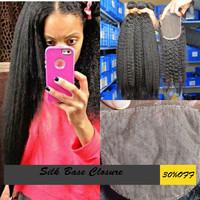 Silk Base Closure Kinky Straight Malaysian 4x4 100% Human Hair No Shedding No Tangle With Shipping Free 8-24 inch 130% Density