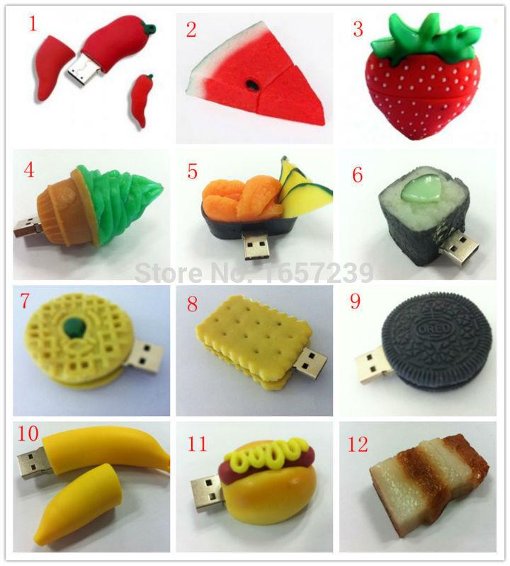 Grátis frete vendas por atacado bonito dos desenhos animados 12 estilo frutas alimentos modelos 2 GB 4 GB 8 GB 16 GB 32 GB 64 GB USB Flash(China (Mainland))