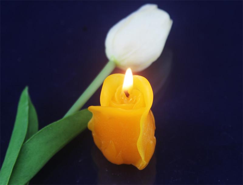 2pcs/set,100% Natural beeswax hand made rose candles for Birthday wedding dating holiday party decoration ,shipping free(China (Mainland))