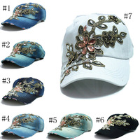 2015 Retail 7 colors brand Hot Sale Outdoor Baseball baseball cap Sports Caps For women denim sun hats Free shipping