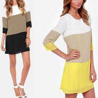 New 2015 autumn Elegant dress OL Half sleeve Chiffon Short Dress Black Yellow Cheap Prom Dress robe de cocktail Free Ship
