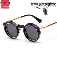 2015 New Fashion Vintage Retro Round Sunglasses Women Men Metal Steampunk Goggles Oculos De Coracao Free Shipping