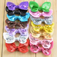 Free Shipping 100pcs/ lot 5CM 14 colors Mini Sequin Bows Boutique Bows Children Girls' Hair Accessories