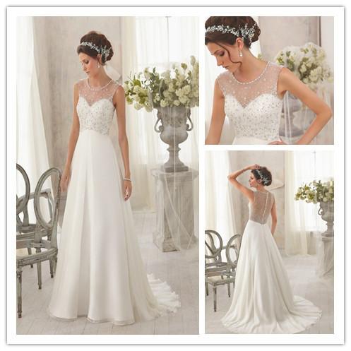 Sexy Cap Sleeve Chiffon See Through Corset Wedding Dresses 2015 Vestido De Noiva Floor Length A Line Bridal Gowns(China (Mainland))