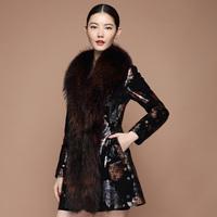 free shipping EMS  2014 embossed genuine leather clothing raccoon fur clothing leather printing medium-long slim bl8133