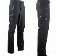 Mens Outdoor skiing pants hiking Mens ski pants mountaineering catch pants waterproof warm soft shell pants black