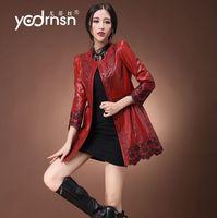 free shipping EMS 2014 autumn genuine sheepskin leather clothing female single leather genuine leather trench medium-long