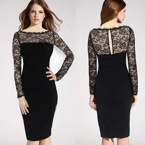 Black lace women dress long sleeve bodycon pencil party dresses