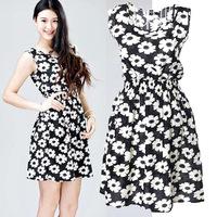 New and Fashion Women's Summer New Fashion Chiffon  Dots Polka Waist  Dress (With Belt) !!