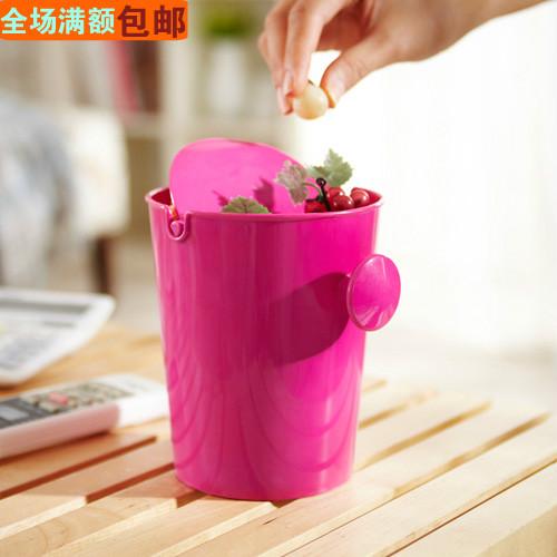 Desktop roll cover trash bucket candy color snacks bucket with lid sundries storage bucket tube circle desktop storage box(China (Mainland))
