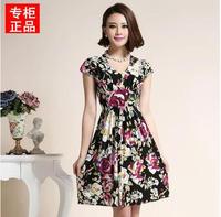 2015 New Women Summer Dress Fashion Chiffon Dress  Dots Polka  Black Casual Dress vestidos femininos Hot