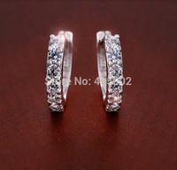 Factory Price Wholesale 925 Sterling CZ Diamond Crystal Fashion Hook Earrings Ear Stud Jewelry EH001