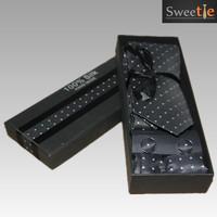New Classic Pattern Dark  White piont Twill JACQUARD WOVEN 100% Silk Men's Tie Necktie  3pic