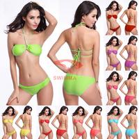 2015 Sexy Swimwear String Racerback Top Bikinis Set Conchoid 8 Colors Swimsuit For Size S M L Women  Bikinis Set DM025