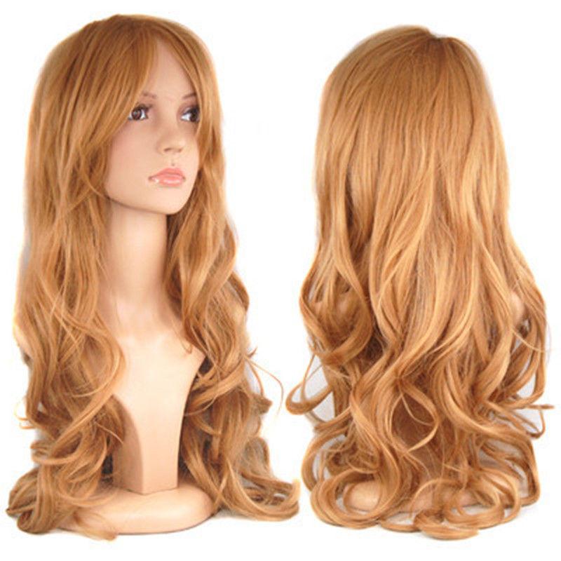 Blonde Ladies Long Wavy Curly Fancy Dress Hair Full Wigs Hair fibre Kanekalon no lace Hair wigs(China (Mainland))