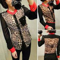 Women Long Sleeve Leopard Shirt Chiffon Blouse Top shirts M L XL