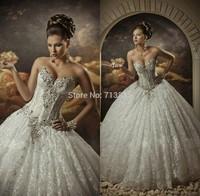 2015 Sexy Corset Beading Sweetheart Bridal Gown vestidos de noiva Ball Gown Wedding Dress