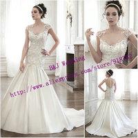 Custom Made New Fashionable Elegant Mermaid High Neckline Cap Sleeve Appliques Satin Wedding Dress 2015 Sheer Back