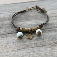 Ceramic Bracelets Jingdezhen Bronze Star Handmade Jewelry Wax Rope Bangles New 2015 Fashion Vintage Accessories free shipping