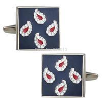 Mens Classic New Sliver Enamel Blue Paisley Square Formal Business Wedding Shirt Cufflinks CKB101-2
