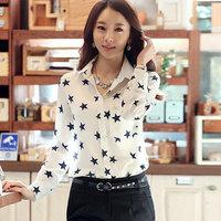 New Fashion Women long sleeve chiffon blouse Star print chiffon blusas femininas LY001