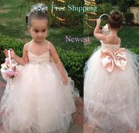68 2015 bow beads ball gown flower girl dresses for weddings girls pageant dresses prom dress children vestido de daminha 2015